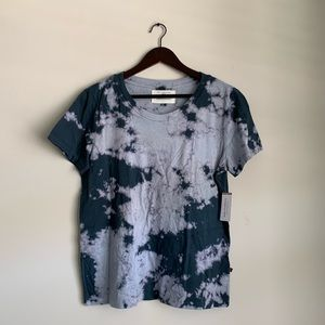 Sol Angeles Blue Tie-Dyed Short Sleeve Tee Large